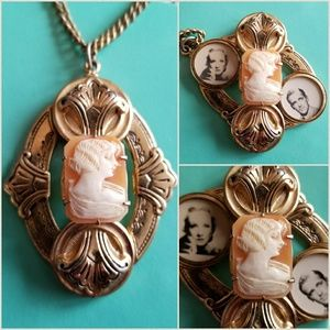 Vintage Cameo twist locket necklace gold tone